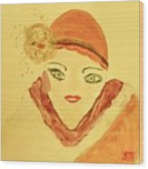 Art Deco Girl In The Red Hat Wood Print