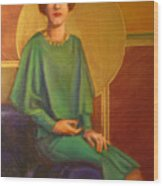 Art Deco Redhead Wood Print