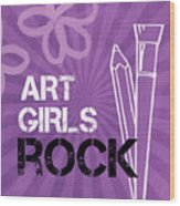 Art Girls Rock Wood Print