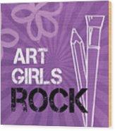 Art Girls Rock Wood Print by Linda Woods