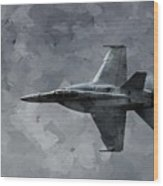 Art In Flight F-18 Fighter Wood Print by Aaron Lee Berg