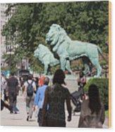 Art Institute Of Chicago Bronze Lions Wood Print