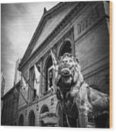 Art Institute Of Chicago Lion Statue In Black And White Wood Print
