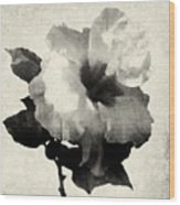 Art Is The Hibiscus -black And White Wood Print