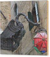 Art Nouveau Dragon In Marzaria Venice Italy Wood Print
