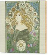 Art Nouveau Goddess Of Astrology Wood Print