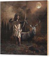 Artemis Goddess Of The Hunt Wood Print