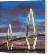 Arthur Ravenel Bridge At Night Wood Print