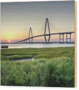 Arthur Ravenel Bridge Sunset Wood Print