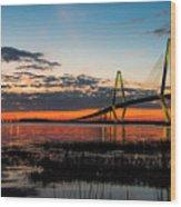 Arthur Ravenel Bridge Twilight Wood Print