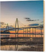 Arthur Ravenel Jr. Bridge At Dusk Wood Print