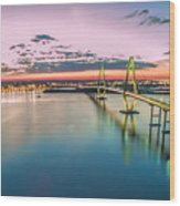 Arthur Ravenel Jr. Bridge Light Trails Wood Print
