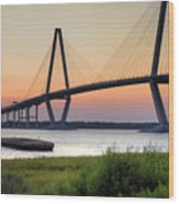 Arthur Ravenel Jr. Bridge Sunset Wood Print