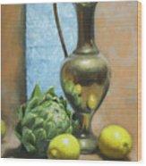 Artichoke And Lemons Wood Print