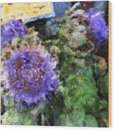 Artichoke Flowers Wood Print