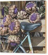 Artichoke Flowers With Bicycle Wood Print