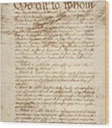 Articles Of Confederation Wood Print
