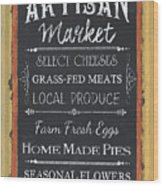 Artisan Market Sign Wood Print