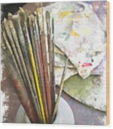 Artist Brushes  Wood Print