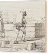 Artist Carrying Easel With A Lithographic Stone Wood Print