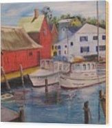 Artist In New England Dock Wood Print