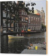 Artist On Amsterdam Canal Wood Print