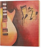 Artistic Guitar With Musical Notes Wood Print