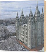 Artistic Rendering Of The Salt Lake City Lds Temple Wood Print