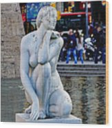 Artistic Statue That Has Gone To The Birds In Barcelona Wood Print