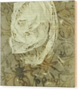 Artistic Vintage Floral Art With Double Overlay Wood Print