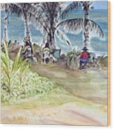 Artists By The Sea Wood Print