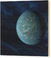 Artists Concept Of Kepler 22b, An Wood Print by Stocktrek Images