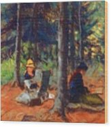 Artists In The Woods Wood Print