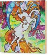 Artsy Nouveau Unicorn Wood Print by Jenn Cunningham