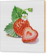 Artz Vitamins A Strawberry Heart Wood Print