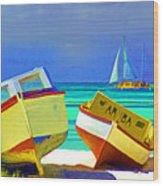 Aruba Boats Wood Print