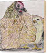 As A Hen Gathereth Her Chickens Under Her Wings Wood Print by Marqueta Graham