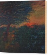 As The Sun Sets Wood Print