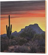 As The Sun Sets On Red Mountain  Wood Print