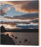 As The Sun Sets Over Loch Rannoch Wood Print
