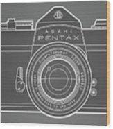 Asahi Pentax 35mm Analog Slr Camera Line Art Graphic White Outline Wood Print