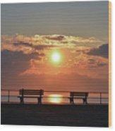 Asbury Park On The Boardwalk At Sunrise Wood Print