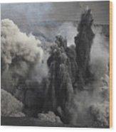 Ash Cloud Eruption On Yasur Volcano Wood Print