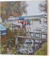 Ashville Bay Marina Wood Print