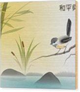 Asian Art Chickadee Landscape Wood Print