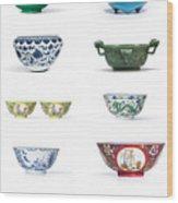 Asian Art Chinese Pottery - Bowls Wood Print