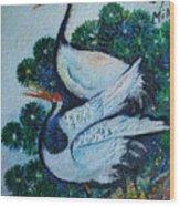 Asian Cranes 1 Wood Print