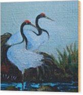 Asian Cranes 2 Wood Print