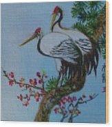 Asian Cranes 4 Wood Print
