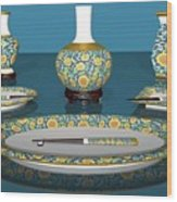 Asian Dining And Vases Wood Print